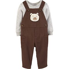 Baby Boy Carter's Striped Thermal Bodysuit & Bear Overalls Set