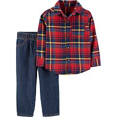 Toddler Boy Carter's Plaid Button Down Shirt & Jeans Set
