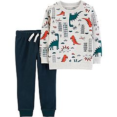 Toddler Boy Carter's Dinosaur Pullover Top & Fleece Jogger Pants Set