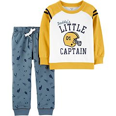 Toddler Boy Carter's Little Captain Football Raglan Sweatshirt & Printed Jogger Pants