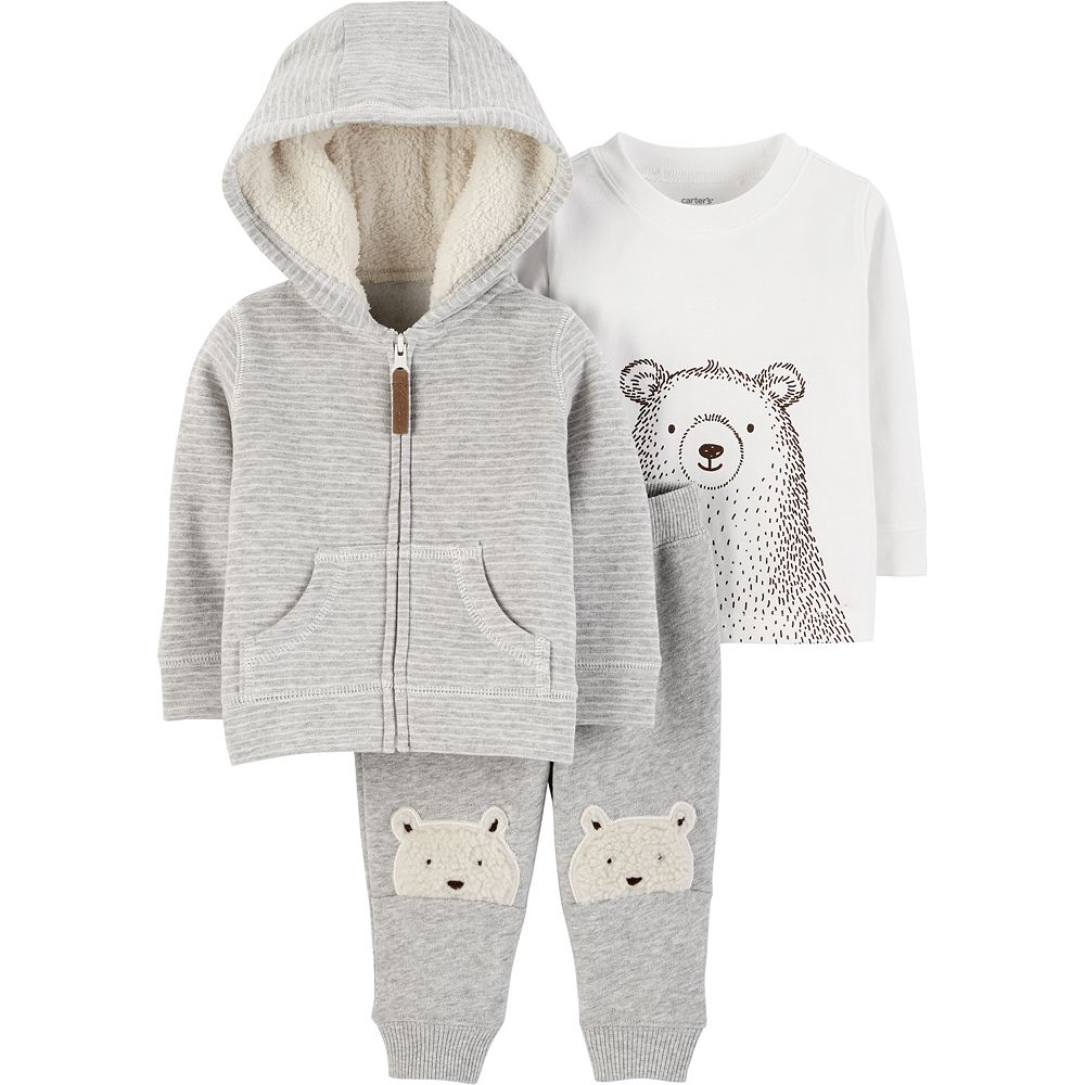Baby Boy Carter's Striped Hoodie, Bear Tee & Fleece Pants Set