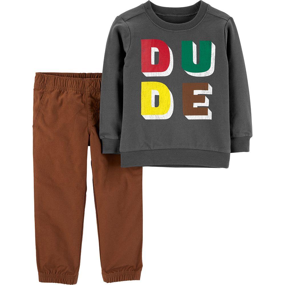 """Toddler Boy Carter's """"Dude"""" Top & Pants Set"""
