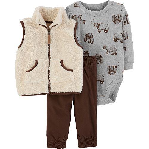 Baby Boy Carter's Bear Bodysuit, Sherpa Vest & Heavyweight Pants Set
