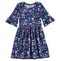 Girls 4-10 Jumping Beans® Print Bell-Sleeve Dress