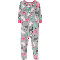 Baby Girl Carter's Christmas Kitty Cat Microfleece Footed Pajamas
