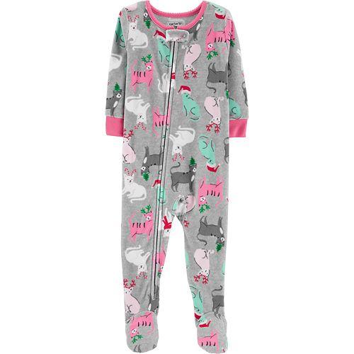 91290c55bede Baby Girl Carter s Christmas Kitty Cat Microfleece Footed Pajamas