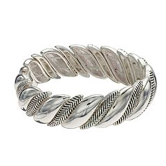 Napier Textured Leaf Stretch Bracelet