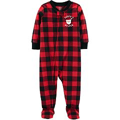 Toddler Boy Carter's Buffalo Plaid 'Santa's Helper' Christmas Microfleece Footed Pajamas