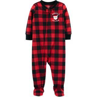 "Toddler Boy Carter's Buffalo Plaid ""Santa's Helper"" Christmas Microfleece Footed Pajamas"