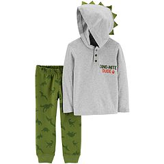 Baby Boy Carter's Dinosaur 3-D Spikes Hooded Henley Top & Jogger Pants Set