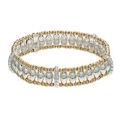 Napier Two Tone Beaded Stretch Bracelet