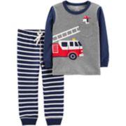 Baby Boy Carter's Fire Truck Pocket Tee & Striped Jogger Pants Set