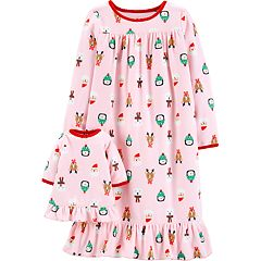 Toddler Girl Carter's Christmas Fleece Nightgown & Matching Doll Nightgown Set