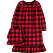 Toddler Girl Carter's Buffalo Plaid Fleece Nightgown & Matching Doll Nightgown Set