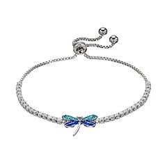 Silver Plated Crystal Dragonfly Bolo Bracelet