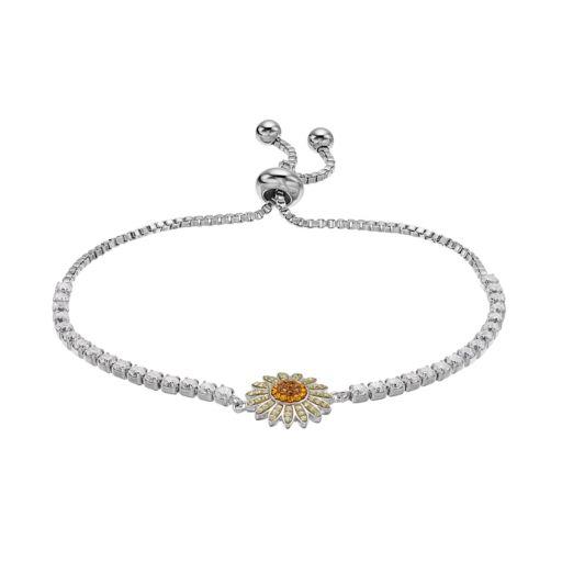 Silver Plated Crystal Sunflower Bolo Bracelet
