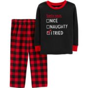 Toddler Boy Carter's Buffalo Plaid Santa Christmas Top & Bottoms Pajama Set
