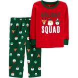 "Toddler Boy Carter's ""Holiday Squad"" Christmas Top & Fleece Bottoms Pajama Set"