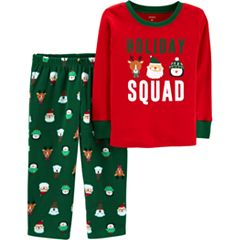 Toddler Boy Carter's 'Holiday Squad' Christmas Top & Fleece Bottoms Pajama Set
