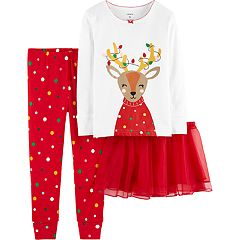 Toddler Girl Carter's Reindeer Top, Bottoms & Tutu Pajama Set