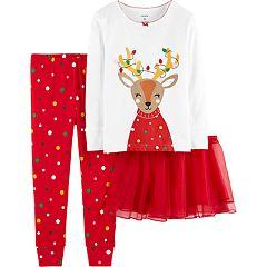 Toddler Girl Carter's Reindeer Top, Bottoms & Tutu Pajama Set