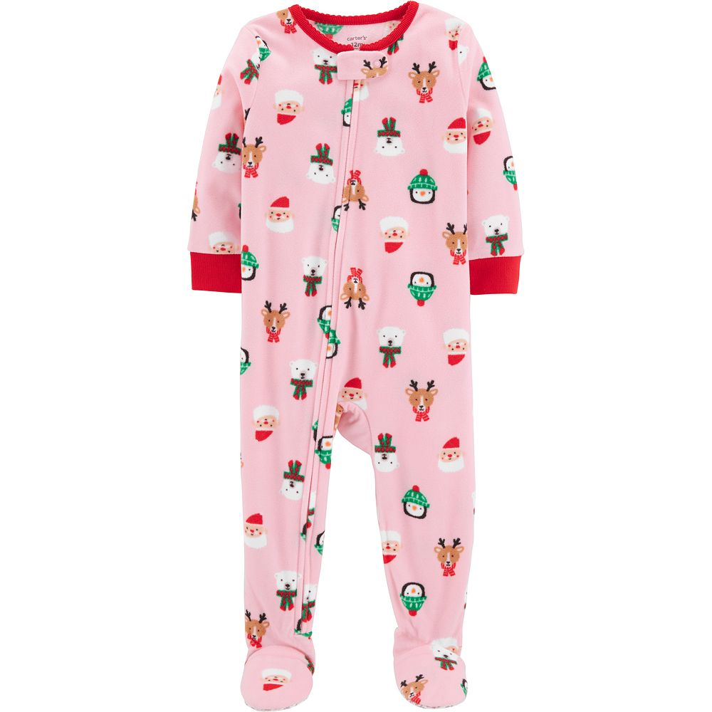 Baby Girl Carter's Microfleece Santa, Penguin & Reindeer Christmas Footed Pajamas