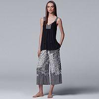 Women's Simply Vera Vera Wang Tank & Culotte Capri Pajama Set