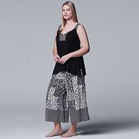 Plus Size Simply Vera Vera Wang Tank & Culotte Capri Pajama Set