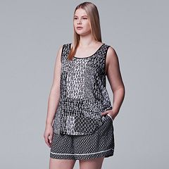 Plus Size Simply Vera Vera Wang Printed Tank & Boxer Shorts Pajama Set