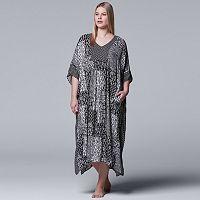 Plus Size Simply Vera Vera Wang Printed Caftan Nightgown