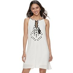 Juniors' Speechless Tie Front Embroidered Shift Dress