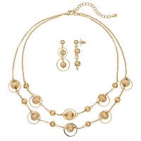 Gold Tone Filigree Bead Double Strand Necklace & Drop Earring Set