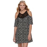 Juniors' Speechless Crochet Paisley Cold-Shoulder Dress