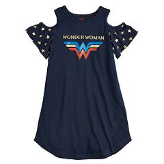 Girls 4-12 DC Comics Wonder Woman Cold Shoulder Knee-Length Dorm Nightgown