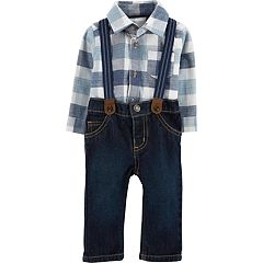 Baby Boy Carter's Plaid Buttoned Bodysuit & Suspender Jeans Set