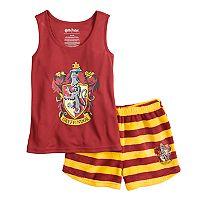Girls 4-12 Harry Potter Gryffindor Tank Top & Striped Plush Shorts Pajama Set