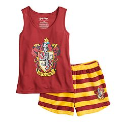 Girls 4-12 Harry Potter Gryffindor Tank Top & Striped Plush Shorts Pajama Set