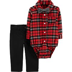 Baby Boy Carter's Plaid Bodysuit, Bow Tie & Pants Set