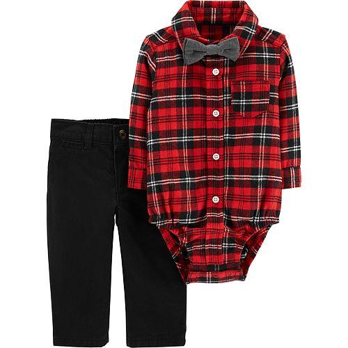 9ea498d94 Baby Boy Carter's Plaid Bodysuit, Bow Tie & Pants Set