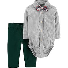 Baby Boy Carter's Button Down Bodysuit, Pants & Bow Tie Set