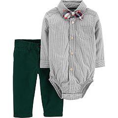 Baby Boy Carter's Button Down Bodysuit, Pants & Bow Tie Set