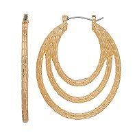 Textured Triple Hoop Earrings