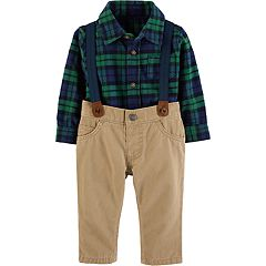 Baby Boy Carter's Plaid Shirt, Suspenders & Pants Set