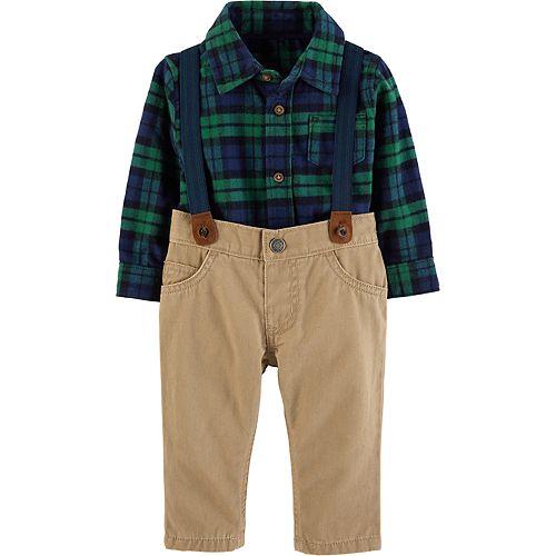 1de74d5c5 Baby Boy Carter's Plaid Shirt, Suspenders & Pants Set