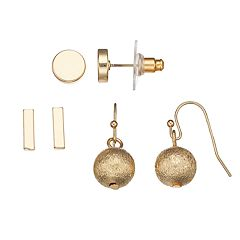 Disc, Horizontal Bar & Ball Earring Set