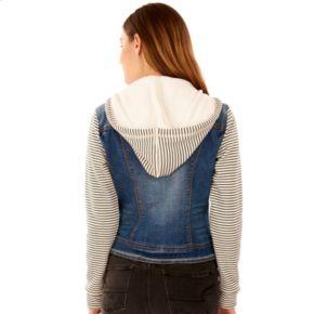 Juniors' Wallflower Hooded Stripe-Sleeve Jean Jacket
