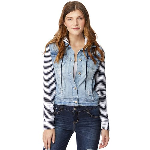 Juniors' Wallflower Hooded Stripe-Sleeve Jean Jacket