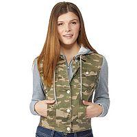 Juniors' Wallflower Hooded Knit-Sleeve Jean Jacket