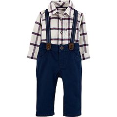 Baby Boy Carter's Plaid Buttoned Bodysuit & Suspender Pants Set