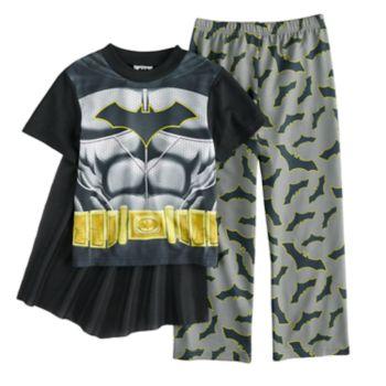 Boys 4-10 Batman 2-Piece Uniform Costume Pajama Set